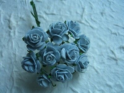 50x 12mm BABY BLUE paper ROSES CL168::: Miniature Flowers Wedding Stationery