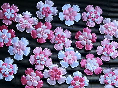 60 fabric FLOWERS Mixed sizes FFE9PW Pink White Card & Scrapbook Embellishments