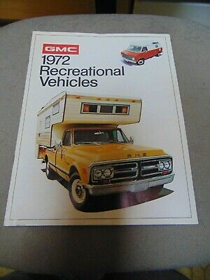 1972 GMC  Recreational Vehicles Sales Brochures 8 PAGES