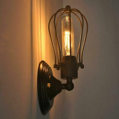 Industrial Retro Vintage Sconce Porch Wire Cage Wall Light Bedside Light