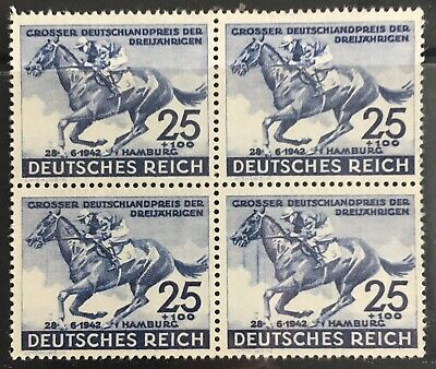 Germany Third Reich 1942 Grand Prix to the Blue Ribbon in Hamburg Block of 4 MLH