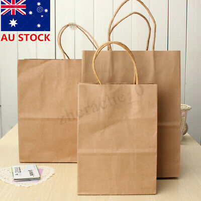 AU 1-50PC S/M/L Bulk Kraft Paper Gift Carry Bags Shopping Party Retail Food Rope
