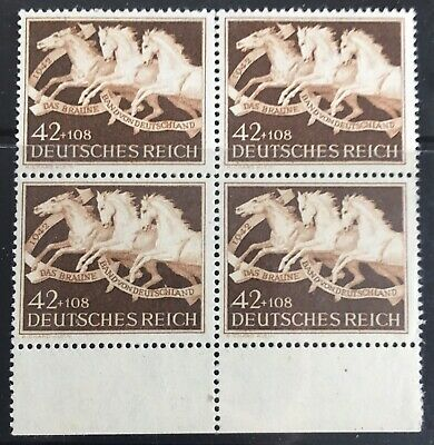 Germany Third Reich 1942 Horse Race - The Brown Band From Germany Block of 4 MLH