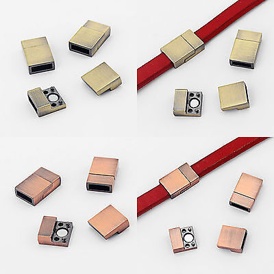 3Set 10x3mm Hole Polished Strong Magnetic Clasp for Flat Leather Bracelet Making