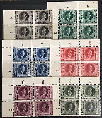 Germany Third Reich 1943 54th Birthday of Hitler issues in Blocks of 4 MLH