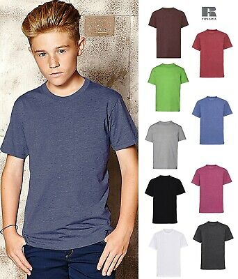 Russell Boys HD Short Sleeve T-Shirt Crew Neck Casual Top Slim fit PolyCottonMx