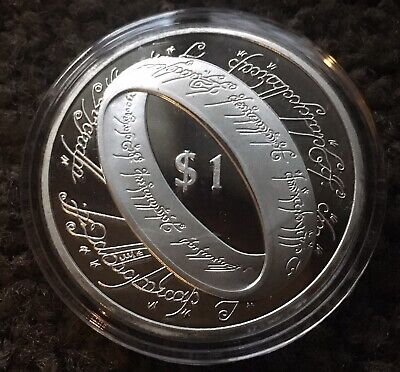 New Zealand 2003 LOTR Lord Of The Rings Coin Finished In Silver Plated Capsule