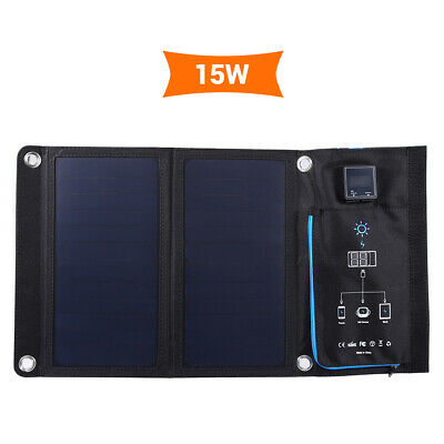 15W Folding Solar Panel Charger Mobile Power Bank for IOS Android Hiking Camping