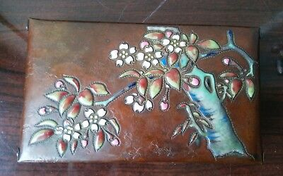 Rare Antique Japanese Enameled Copper Arts + Crafts Box