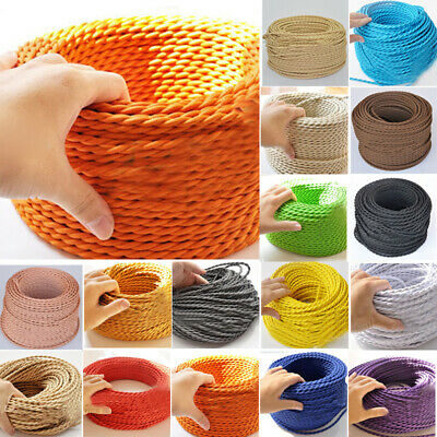Braided Cable Electric Coloured Vintage Light Flex Style Fabric Twisted Core