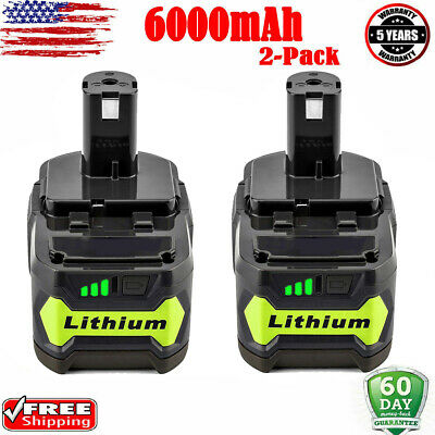 2x P108 for 18V RYOBI ONE PLUS Lithium High Capacity 6AH Battery P104 P107 P106