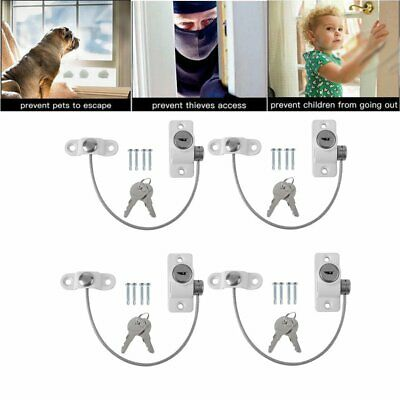 4X Window Door Restrictor Security Locking Cable Wire Child Baby Safety Lock UK