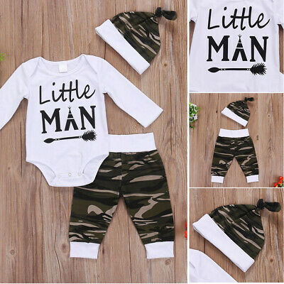Infant Baby Newborn Boy Romper Camoufalge Pants Hat 3pcs Outfits Set Clothes New