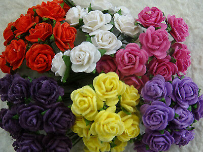 60 x 10mm Paper Roses MPR10BX Brights Wedding Stationery Hair Clips Cup Cakes
