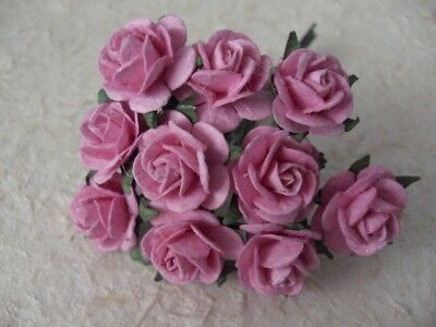 50x15mm PINK Paper ROSES (120) Wedding Birthday Party Cards Miniature Decoration