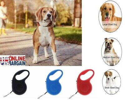 Retractable Dog Lead Tape Extendable Leash Pet Training 5m Heritage Dogs UK