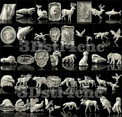 40 3D STL Models Animals Set for CNC Router Carving Machine Artcam aspire Cut3D