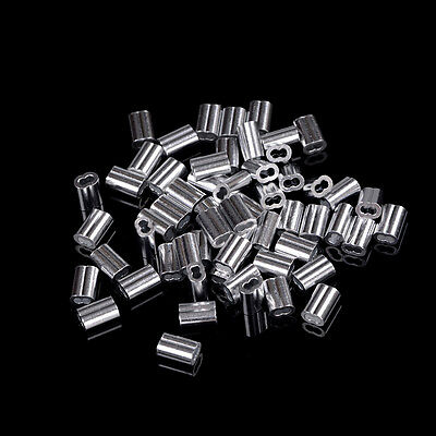 50pcs 1.5mm Cable Crimps Aluminum Sleeves Cable Wire Rope Clip Fitting ^F