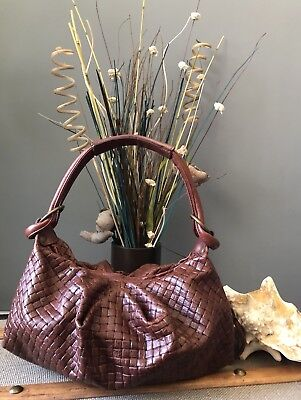 efdec29920 ANDREA BRUECKNER Brown Soft Embossed Leather Mini Slouchy Hobo Handbag  Purse EUC
