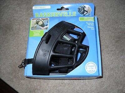 Baskerville Size 5 Ultra Dog Basket Muzzle Adjustable Dog Muzzle Black