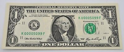 US 2006 $1 Dollar Note - Very Low Serial Consecutive Zeroes K00005099F