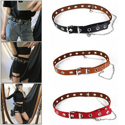 Ladies Girl Punk Hollow Ring Belt PU Leather Belt With Chain 3cm Wide 3 Colors