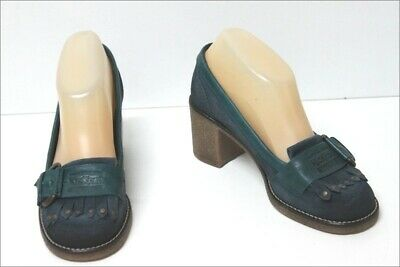 KICKERS Mocassin heels Crust leather Blue and green T 36 MINT