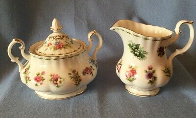 """ROYAL ALBERT 1984 """"Flowers of the Month""""  Covered Sugar & Milk Pitcher Set"""