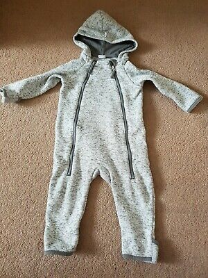 H&M White Grey Pram Suit All In One Age 6-9 Mth