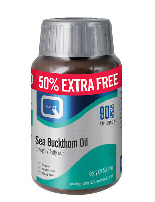 Quest Sea Buchthorn Oil Omega 7 50% Extra Free 90 Caps For the price of 60 Caps