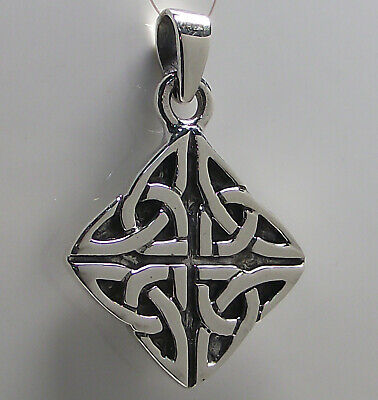 925 Sterling Silver Celtic TRINITY KNOT PENDANT 36mm Drop Triquetra