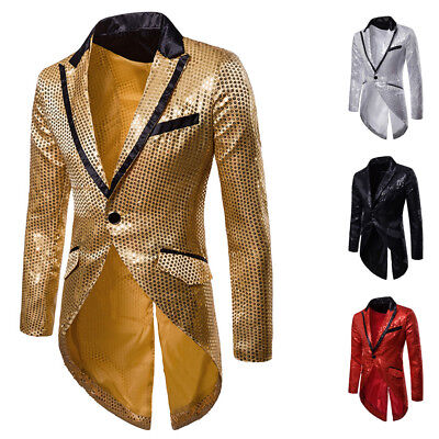FASHION Uomo Bling Paillettes Smoking GANGNAM Giacca Cappotto Formale Festa Matrimonio