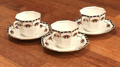 Stunning Vintage Delphine China Art deco Hand Painted Tea cup & saucer Set Of 3