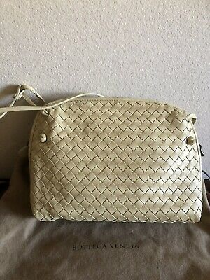 6a61cc9e1ff0 Bottega Veneta Beige intrecciato nappa leather crossbody Nodini Bag Mint
