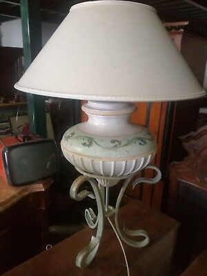 Table lamp lampshade light ceramics vintage painted wrought iron Tuscany