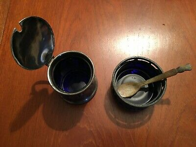 Vintage Pewter Mustard Pots with Cobalt Blue Glass Liners and a bone spoon