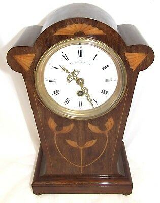Antique Inlaid Mahogany 31 Day Balloon Bracket / Mantel Clock : ELKINGTON PARIS