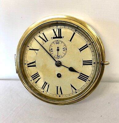 Antique Ships Marine Bulkhead Bulk Head Brass Cased Ships Clock