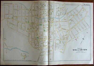 Wollaston Town of Quincy Norfolk County Massachusetts 1888 large detailed map