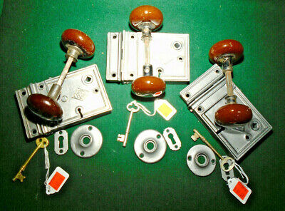 VINTAGE RUSSELL & ERWIN RIM LOCK COMPLETE SET w/KEY, KNOBS, ESCUTCHEONS (11726)