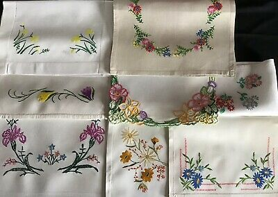 Collection 8 Beautiful Vintage Hand Embroidered Traycloths ~ Florals