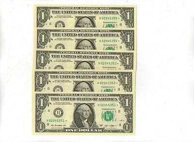 Consecutive Set Of Five 2013 One Dollar St, Louis Star Notes Uncirculated