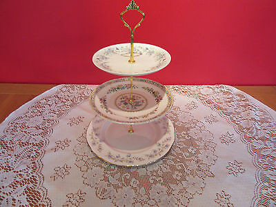 Pretty  Vintage bone china mixed mismatch   3 Tier Cake stand blues