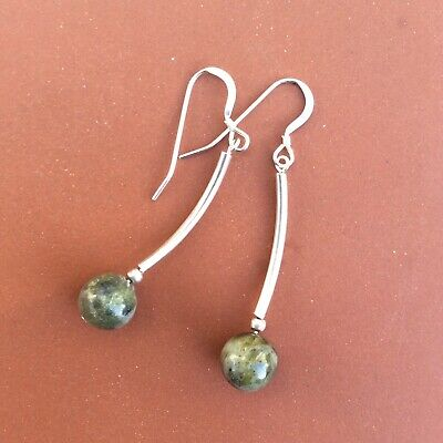 Connemara marble contemporary design sterling silver earrings.Irish Jewelry gift