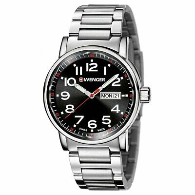 Wenger Men's Attitude Large Stainless Steel Black Dial Swiss Watch 01.0341.104