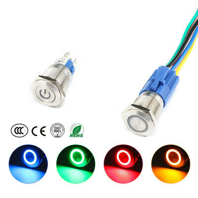 22mm 6V/12V/24V/220V Car Boat Instrument LED Metal Waterproof Push Button Switch