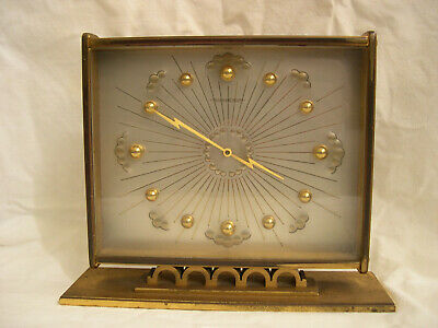 Vintage pendulette Jaeger Lecoultre clock clouds and lightnings 8 days 1950