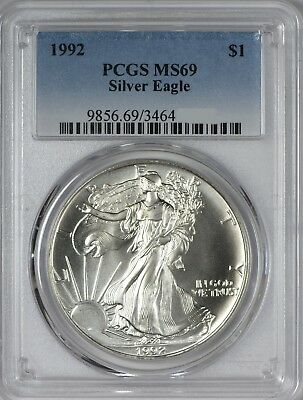 1992 American Silver Eagle PCGS MS69 - Five Coins