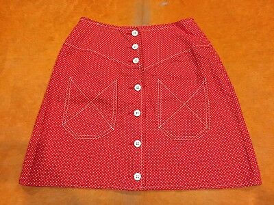 Womens XS-S Vintage 80s Western Red White Dot Aline Button Up High Waist Skirt