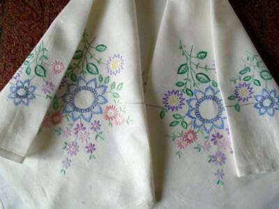 Very Pretty Vintage Hand Embroidered Floral Linen Tablecloth ~Superb Stitch Work